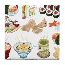 Kawaii Sushi Ban Cafe Tile Coaster