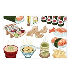 Kawaii Sushi Ban Cafe Postcards (Package of 8)