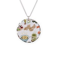 Kawaii Sushi Ban Cafe Necklace Circle Charm