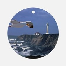 (4) lighthouse  seagull Round Ornament