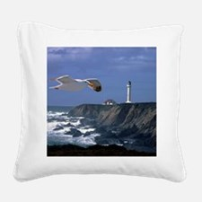 (4) lighthouse  seagull Square Canvas Pillow