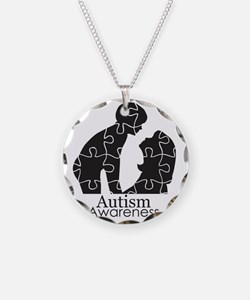 autismsilhouette Necklace Circle Charm