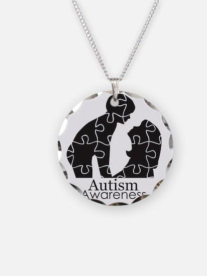 autismsilhouette Necklace Circle Charm