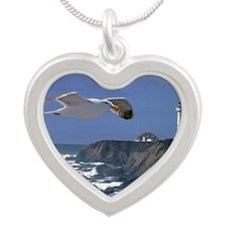 (15s) lighthouse & seagull Silver Heart Necklace