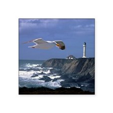 """(15s) lighthouse & seagull Square Sticker 3"""" x 3"""""""