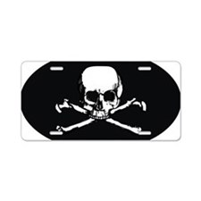 Skull  Crossbones (Oval 3.2 Aluminum License Plate