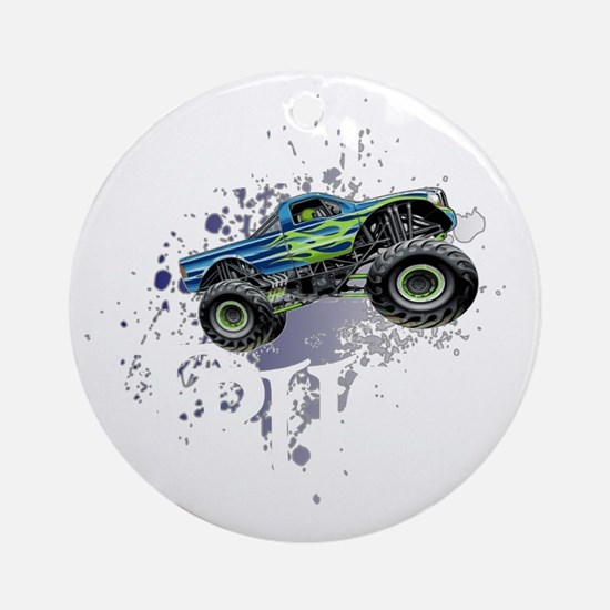 Monster_Truck_Light_cp Round Ornament