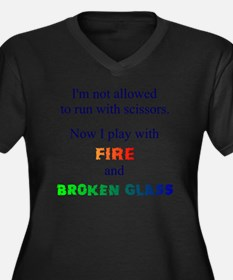 Fire and Bro Women's Plus Size Dark V-Neck T-Shirt