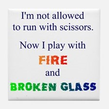 Fire and Broken glass 12 Tile Coaster