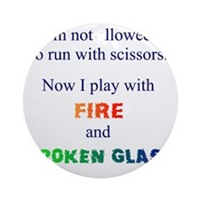 Fire and Broken glass 12 Round Ornament