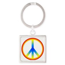 Peace Sign Square Keychain