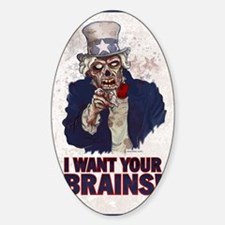 Uncle Zombie poster Sticker (Oval)