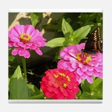 Butterfly on Pink Zinnia Flowers Tile Coaster