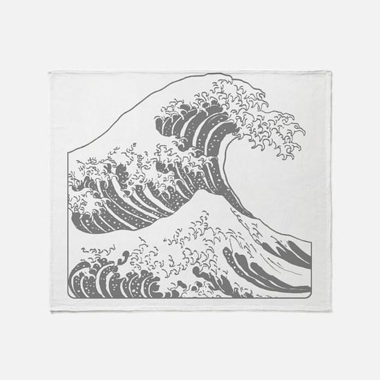 great_wave_grey_10x10 Throw Blanket