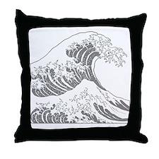 great_wave_grey_10x10 Throw Pillow