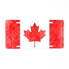 Canada Flag White Aluminum License Plate