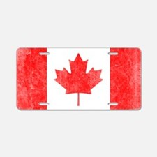 Canada Flag White Aluminum License Plate