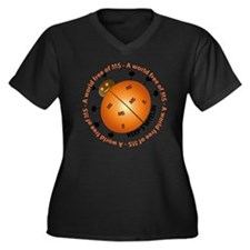 10x10_MSsmil Women's Plus Size Dark V-Neck T-Shirt