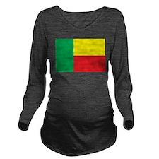 Benin Flag Long Sleeve Maternity T-Shirt