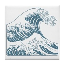 great_wave_blue_10x10 Tile Coaster