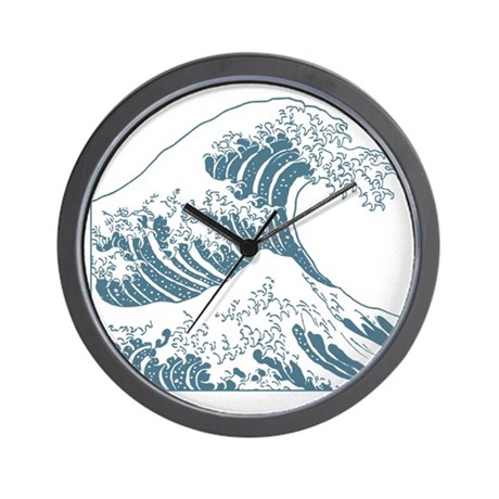 great_wave_blue_10x10 Wall Clock