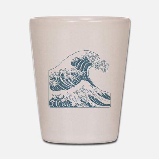 great_wave_blue_10x10 Shot Glass