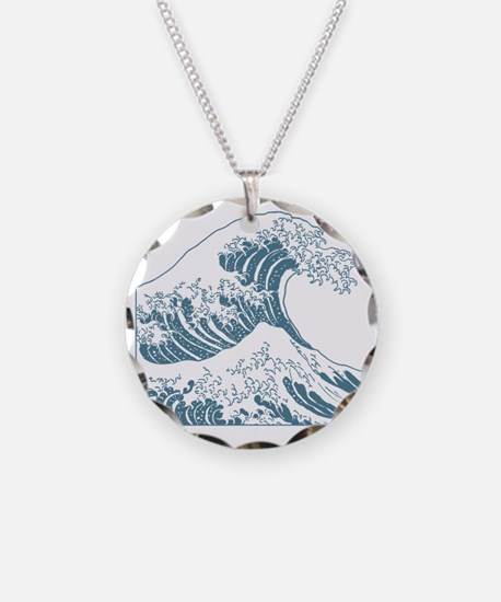 great_wave_blue_10x10 Necklace