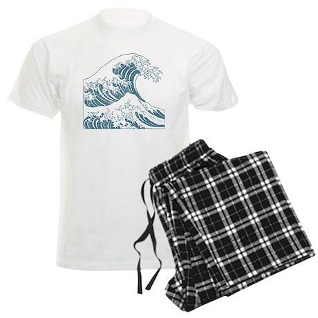 great_wave_blue_10x10 Men's Light Pajamas