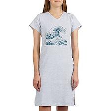great_wave_blue_10x10 Women's Nightshirt