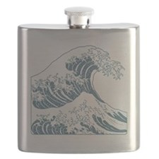 great_wave_blue_10x10 Flask