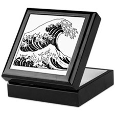 great_wave_black_10x10 Keepsake Box