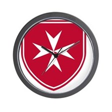 Cross of Malta - Red Shield Wall Clock