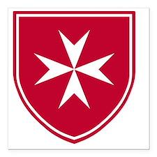 "Cross of Malta - Red Shi Square Car Magnet 3"" x 3"""