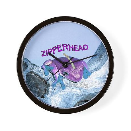 FrogOnLogZipperheadPurple Wall Clock