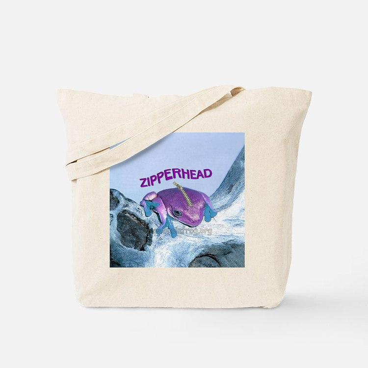 FrogOnLogZipperheadPurple Tote Bag