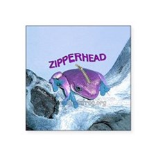 "FrogOnLogZipperheadPurple Square Sticker 3"" x 3"""