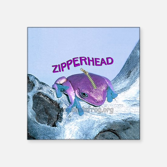"FrogOnLogZipperheadPurple Square Sticker 3"" x 3"""