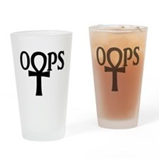 oops black copy Drinking Glass