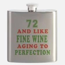 Funny 72 And Like Fine Wine Birthday Flask