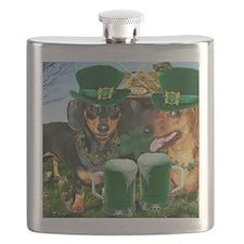 irish dogs 16x12 copy Flask