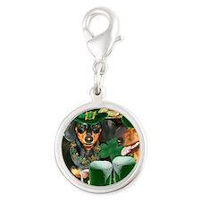 irish dogs 16x12 copy Silver Round Charm