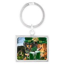 irish dogs 16x12 copy Landscape Keychain