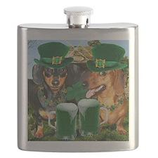 irish dogs 16x16 copy Flask