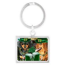 irish dogs 16x16 copy Landscape Keychain