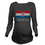Vintage Croatia Long Sleeve Maternity T-Shirt
