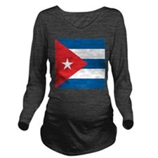 Cuba Flag Long Sleeve Maternity T-Shirt