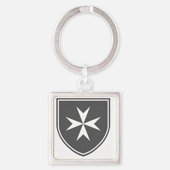 Cross of Malta - Grey Shield Square Keychain