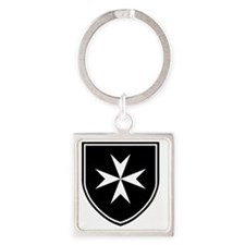 Cross of Malta - Black Shield Square Keychain