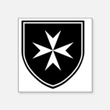 """Cross of Malta - Black Shie Square Sticker 3"""" x 3"""""""