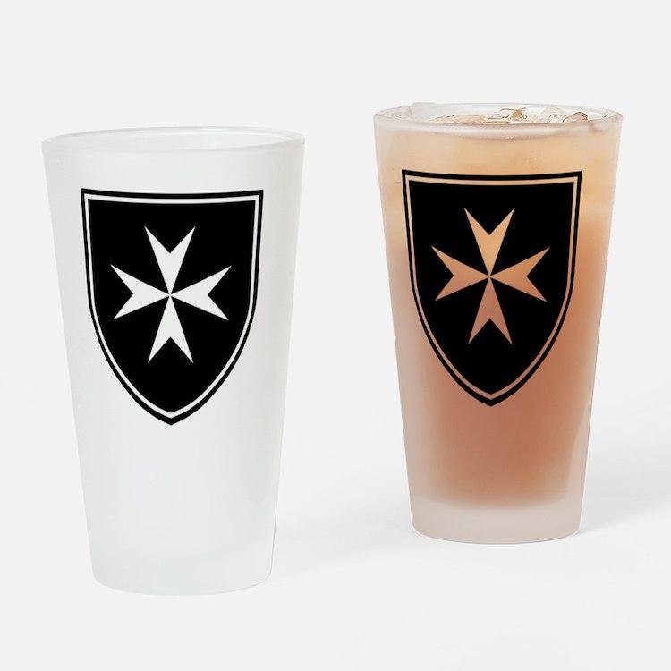 Cross of Malta - Black Shield Drinking Glass